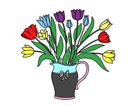 vaso tulipani disegno vaso di tulipani colorato da utente non registrato