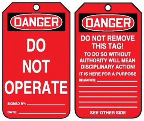 printable danger tags accuform signs danger do not operate tag side 1 danger