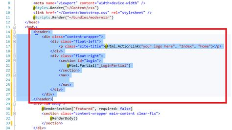 mvc layout header section the asp net mvc club step by step how to add a twitter