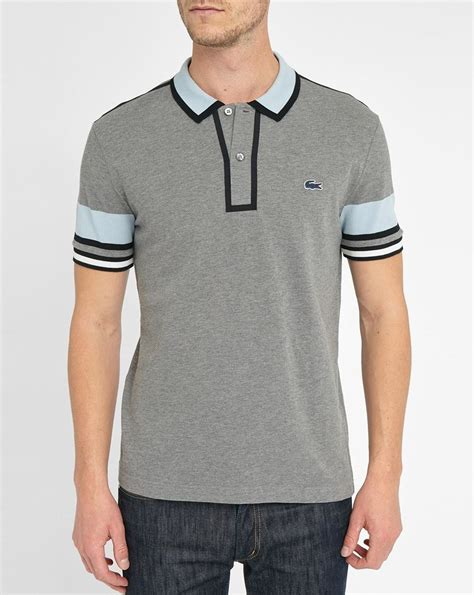 Aryabhazda Lacoste Poloshirt Gray 4 lacoste grey and sky blue two toned made in polo shirt in gray for lyst