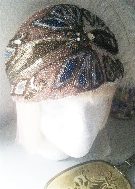 flapper beaded headdress 1920s vintage bohemian beaded turban by theprancingfox