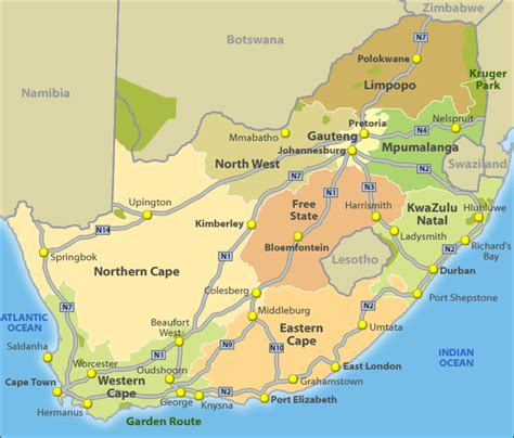 south africa map with cities maps of south africa