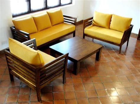 Yellow Living Room Set Contemporary Living Room Design With Wooden Sofa Set With Yellow Foam Iwemm7