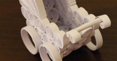 Origami Baby Carriage - baby carriage quilled paper artworks baby
