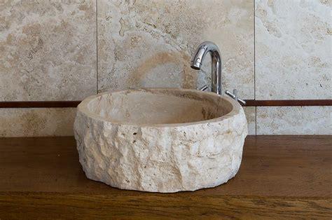 rubinetti rustici roccia lavandino tondo rustico in travertino tr025ch