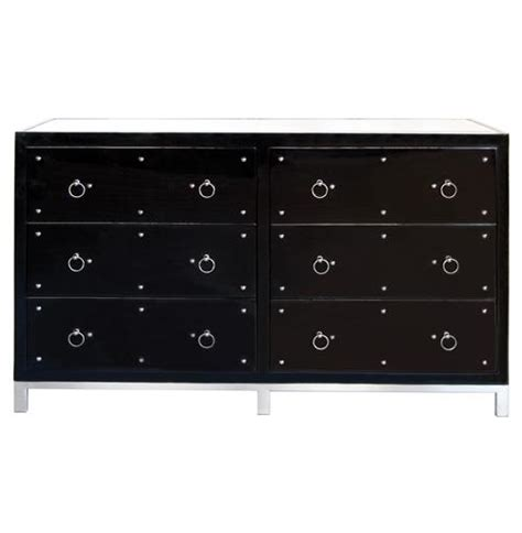 black lacquer dresser with mirror harley hollywood regency studded black lacquer mirror