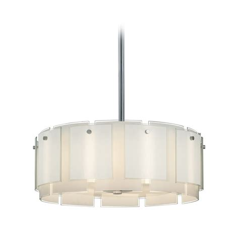 Drum Pendant Light With White Glass In Polished Chrome White Drum Pendant Light
