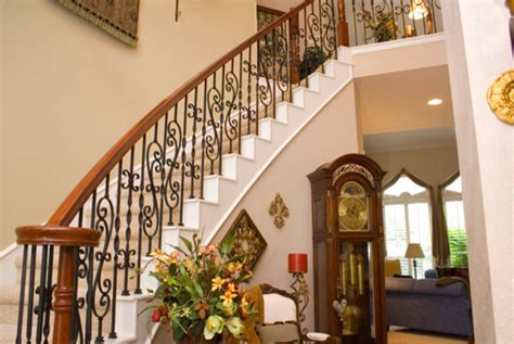 ribbon twisted iron balusters traditional staircase