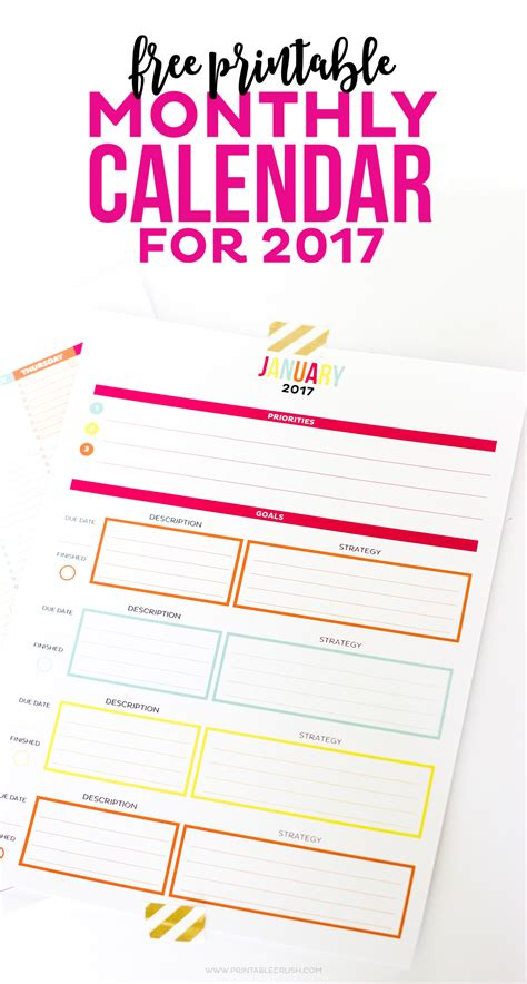 Calendar 2017 Sheets 2017 Printable Monthly Calendar And Goal Sheets