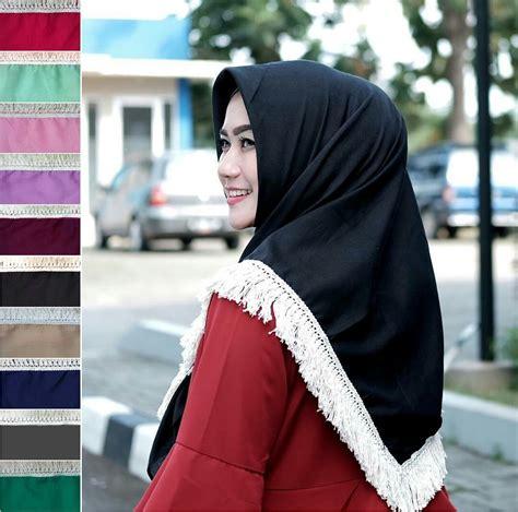 model jilbab segi empat rumbai renda dayak