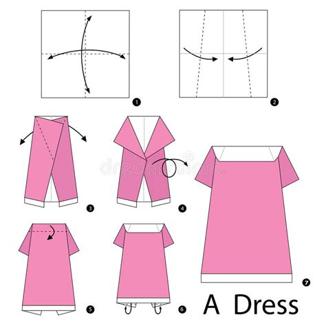 origami vector tutorial step by step instructions how to make origami a dress