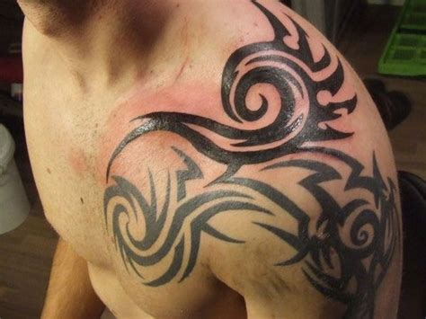 tribal tattoos shoulder chest and back amazing tribal design left shoulder for