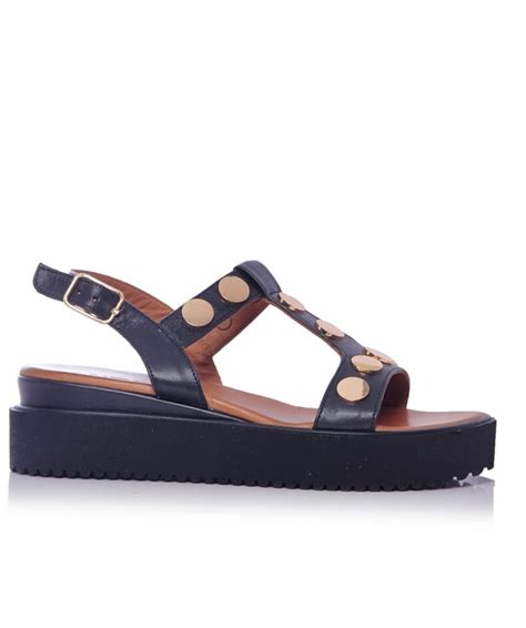 Sandal Studed inuovo black and gold studded t bar sandals jules b