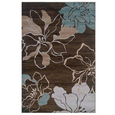 Brown And Aqua Area Rugs Linon Home Decor Milan Collection Brown And Turquoise 5 Ft X 7 Ft 7 In Indoor Area Rug Rug