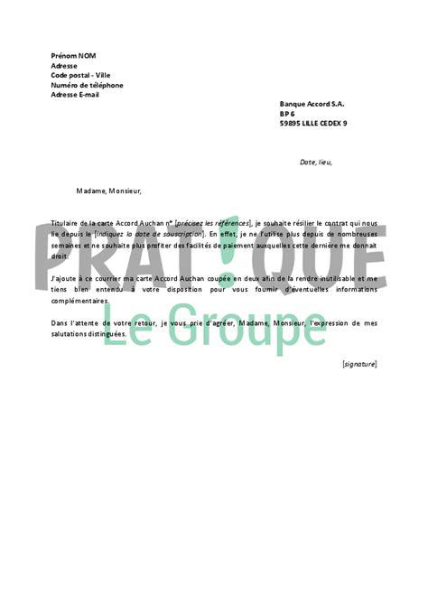 Résiliation De Compte Bancaire Lettre Type Lettre De R 233 Siliation Carte Accord Auchan Pratique Fr
