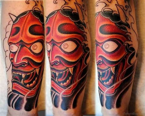red hannya mask tattoo designs 40 impressive mask tattoos for leg