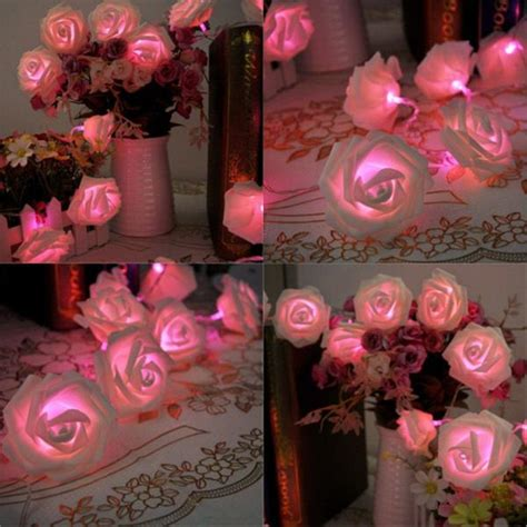 Led Pink Battery Ope Ed Rose Bud String Curtain Light