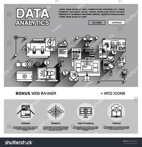 One Page Data Analytics Web Design Stock Vector 387282460 Data Analytics Website Template