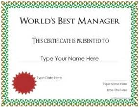 special certificate best manager award