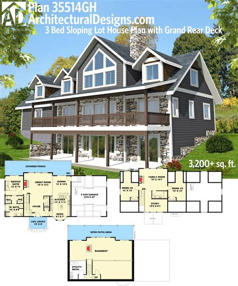 house plans for sloping lots in the rear 54 best images about homes for the sloping lot on