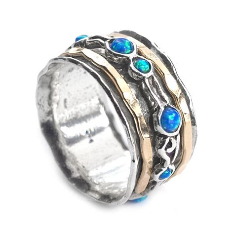 israeli jewelry silver spinning ring with goldfilled bands