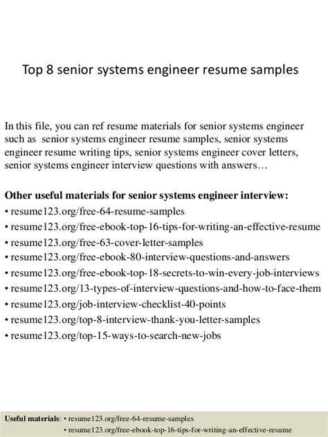 Technical Support Resume Samples by Top 8 Senior Systems Engineer Resume Samples
