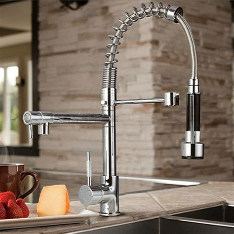 kitchen tap faucet byb 174 chrome modern designer single handle pull out spray
