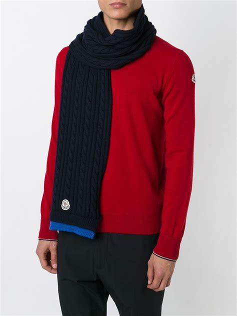light blue scarf for men lyst moncler cable knit scarf in blue for men