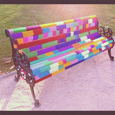 colored benches 1000 ideas about yarn bombing on pinterest yarns