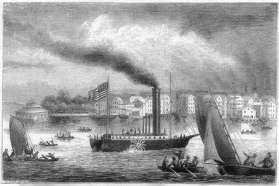 barco a vapor revolucion industrial un paisaje de fabricas barco de vapor