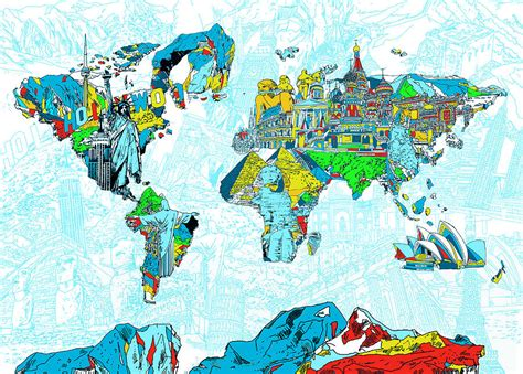 map of landmarks 2 map of the world landmark collage 2 painting by bekim