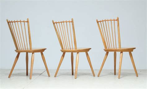 set of 6 1950s albert haberer cherry wood dining room set of three arts and crafts chairs by albert haberer for