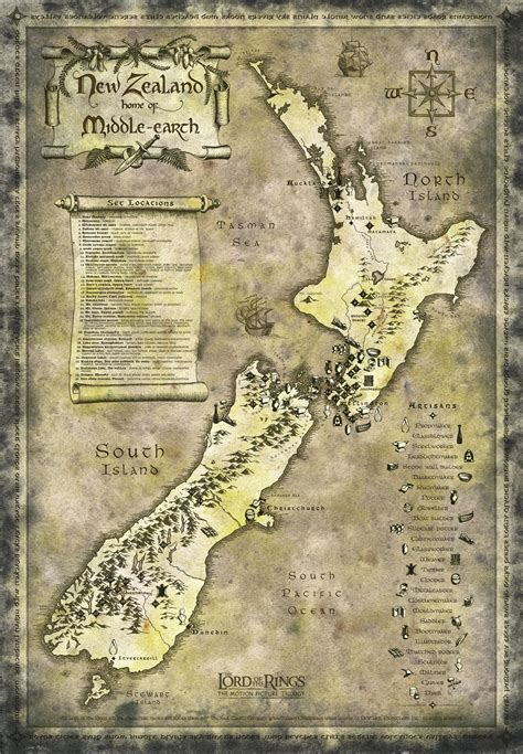 Go To Designer La Rok For At Livenattycom by New Zealand Lord Of Rings Tourist Map New Zealand Mappery