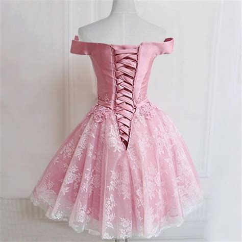 Id Pink Lace Dress on sale mini homecoming prom dress pink dresses with