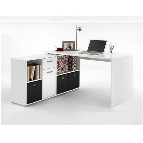 Flexi Wooden Corner Computer Desk In White 18083 Furniture White Corner Desk