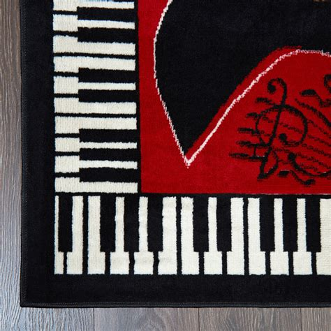 musical instrument piano key bordered red area rug guitar  notes carpet ebay