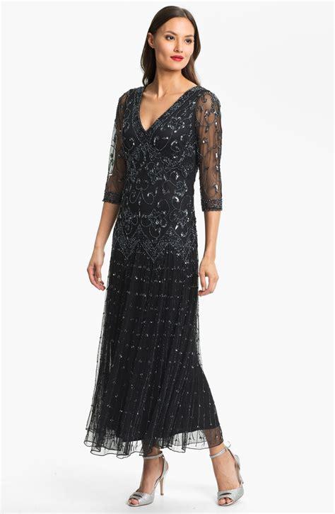 pisarro nights beaded mesh gown pisarro nights beaded mesh dress in black black gunmetal