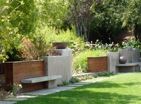 contemporary fencing  seating artful hardscape