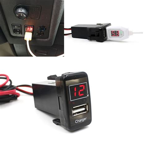 car 5v 2 1a usb port dashboard voltmeter phone charger for