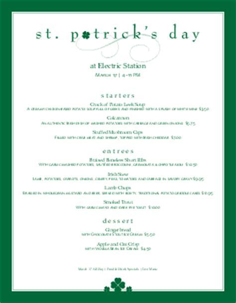 St Patricks Day Menu Templates And Designs Musthavemenus S Day Menu Template