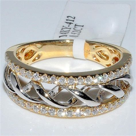 Right Ring Fashion 2 by Wedding Band 52ct Two Tone 14k Gold 7 5mm Wide
