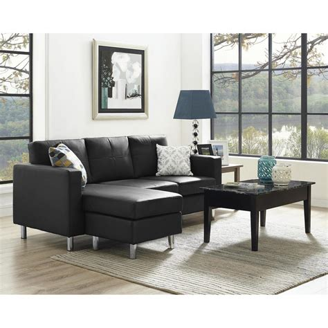 Small Living Room With Sectional - dorel living small spaces 2 configurable black