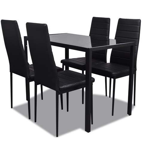 Dining Table Set Black Black Dining Table Set With 4 Chairs Contemporary Design Vidaxl