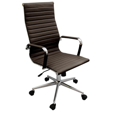 Ergonomic Office Desk Chairs New Coffee Brown Modern Executive Ergonomic Ribbed High Back Office Desk Chair Ebay