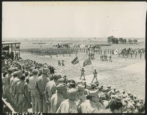 troops pass  review  camp gruber oklahoma   june