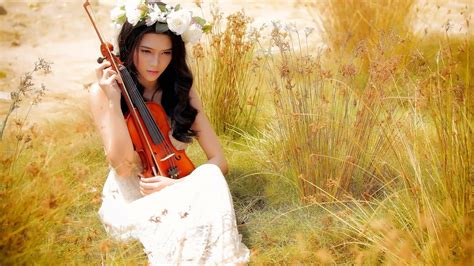 wallpaper girl music bride violin music girl in field hd wallpaper new hd