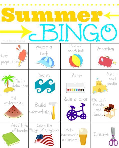 printable games for summer 4 best images of free printable summer bingo free