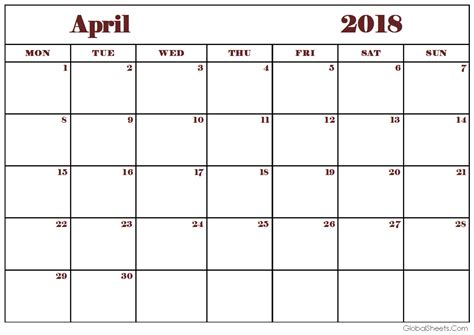 free editable calendar template printable april 2018 calendar editable template