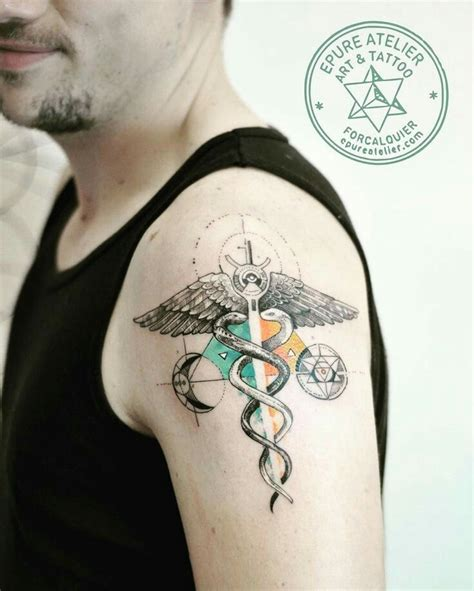 caduceus armillary sphere best tattoo design ideas geometric sketch caduceus kundalini fly