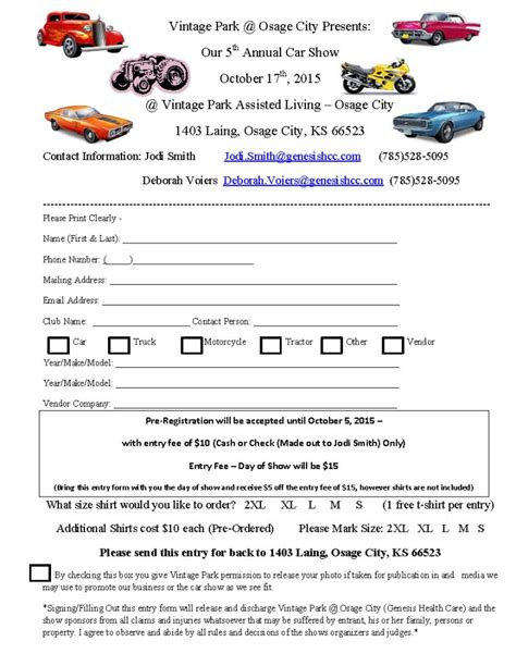 show entry form template car show registration form templates find word templates